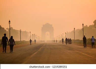 New Delhi, October-2018:  Hazy silhouette view of India Gate due to heavy smog. In morning particulate matter PM10 & 2.5 combines with fog in autumn season due stagnant winds & sinking cold air mass.