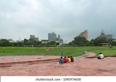 New Delhi Paharganj district, Connaught place circuit, India, Park people sitting