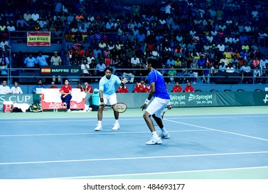 NEW DELHI - SEPTEMBER 17, 2016: Leander Paes and Saketh Myneni play for India against Spain in the Davis Cup 2016 doubles match at the R.K. Khanna Tennis Stadium, New Delhi.