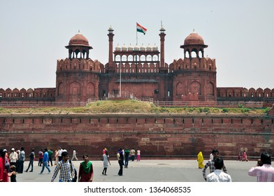 New Delhi/India - 9 April 2019: Tourists at Red Fort. It was the main residence of the emperors of the Mughal dynasty for nearly 200 years, until 1856