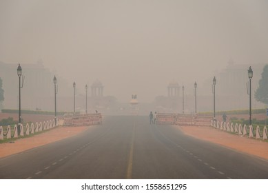 New Delhi,India, November-2019:  Hazy view of Vijay Chowk due to hazardous smoggy morning AQI going above 500 . Pollution level rises and causes smog in autumn & winter season due stagnant winds.