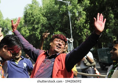 NEW DELHI-MAY 16: BJP supporters in a joyous mood  in front of party headquarter after BJP won the Indian National election on May 16, 2014 in New Delhi , India.