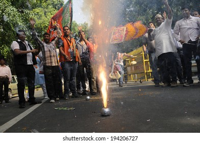 NEW DELHI-MAY 16:  BJP supporters lighting firecrackers on the streets after BJP won the Indian National election on May 16, 2014 in New Delhi , India.