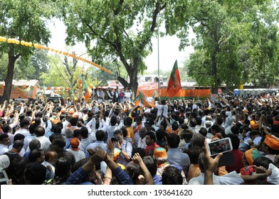 NEW DELHI-MAY 17: Senior BJP leaders addressing their supporters after wining the Indian National election on May 17, 2014 in New Delhi , India.