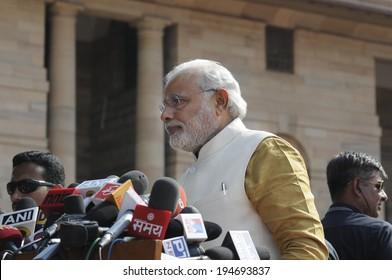 NEW DELHI-MAY 20:  Prime Minister Narendra Modi at Rashtrapati Bhavan during a press conference on May 20, 2014 in New Delhi , India.