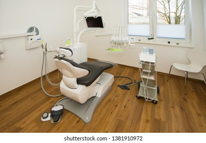 a new dentist's chair is placed in the dentist's treatment room