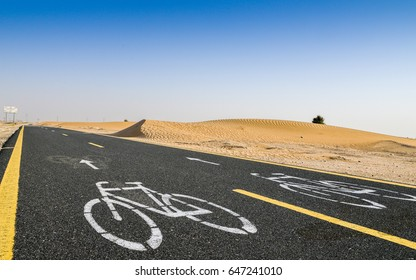 New desert cycle track at Al Qudra in Dubai, United Arab Emirates. It's length is nearly 100km