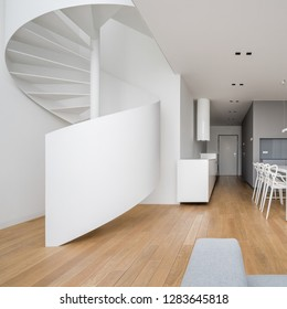 New design two-storey apartment in white with spiral staircase