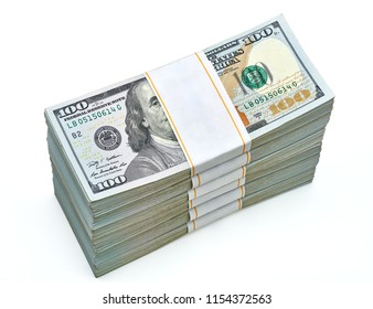 New design US Dollar bills bundles stack from top isolated on white background including clipping path.