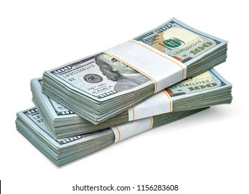New design US Dollar bills bundles stack on white background including clipping path.