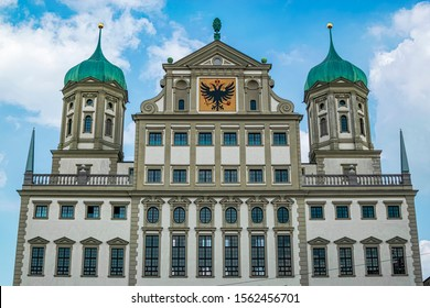 New Detail of the upper facade of the Augsburg City Hall and the shield of the city. Photography taken in Augsburg, Bavaria Germany.