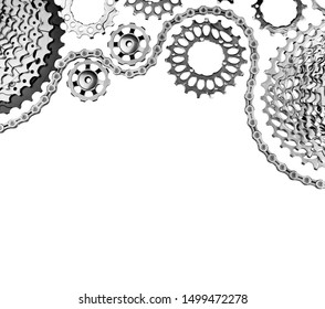 New details of a bicycle transmission on isolated white background without shadows. New cassettes and chains for Bicycle repair close-up view.