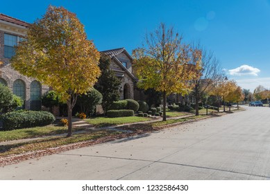 New development subdivision with quiet residential street in Dallas, Texas suburb on sunny autumn day. Yellow fallen leaves sidewalk neighborhood. Parked car on street in America