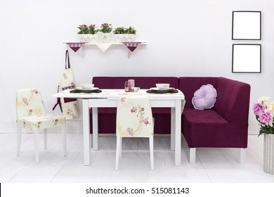 new dining table and comfortable chairs in modern home with elegant table setting, frame