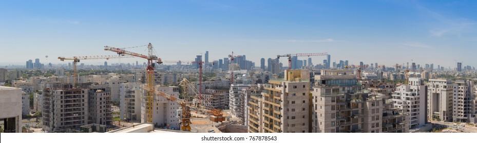 New District in North Tel Aviv - Modern Building and Constraction Site, Ramat Aviv, Tel Aviv, Israel, Panorama, Panoramabildung