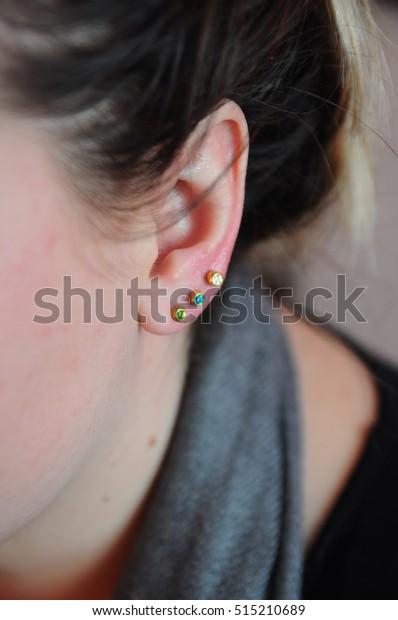 New Ear Piercing Earring Stock Photo Edit Now 515210689