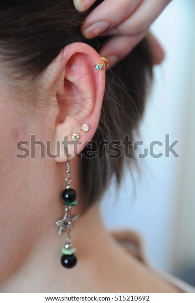 New Ear Piercing Earring Stock Photo Edit Now 515210692