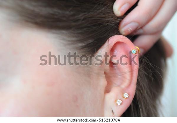New Ear Piercing Earring Stock Photo Edit Now 515210704