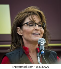 NEW EGYPT, NEW JERSEY/USA ; OCTOBER 12: Former Alaska governor and political superstar Sarah Palin at the Tea Party rally for Steve Lonegan on October 12 2013 in New Egypt New Jersey.