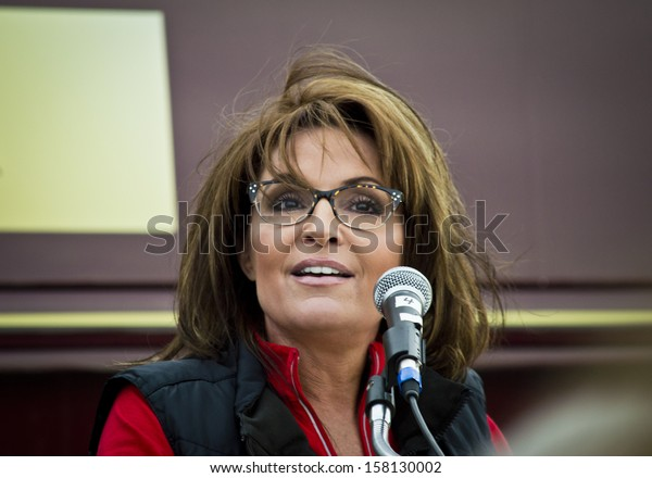 NEW EGYPT, NEW JERSEY/USA OCTOBER 12: Former Alaska governor and political superstar Sarah Palin at the Tea Party rally for Steve Lonegan on October 12 2013 in New Egypt New Jersey.