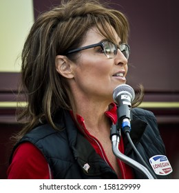 NEW EGYPT, NEW JERSEY/USAOCTOBER 12: Former Alaska governor and political superstar Sarah Palin at the Tea Party rally for Steve Lonegan on October 12 2013 in New Egypt New Jersey.