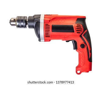 new electric drill on white isolated background