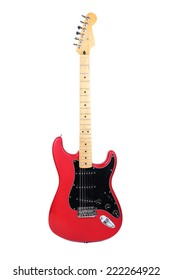 New electric guitar isolated on white
