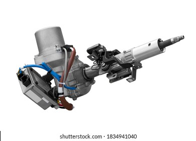 new electric power steering car with electronic unit on white background