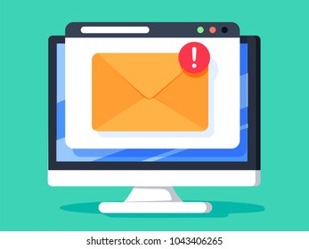 New email on computer vector illustration stock vector 2018 new email on computer illustration flat cartoon design of desktop pc e mail publicscrutiny Images