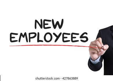 NEW EMPLOYEES                    Businessman hand writing with black marker on white background
