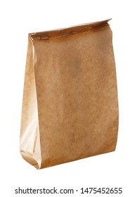 New empty blank paper bag without inscriptions and logos. Made from brown kraft paper. Isolated on white background.