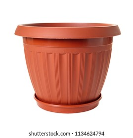 new empty flowerpot on white isolated background