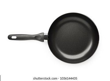 New empty frying pan isolated on white background on top view