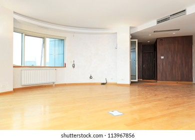 New and empty living room in big apartment
