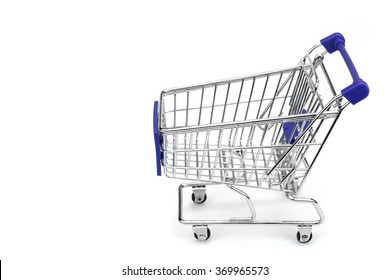 New Empty Shopping Cart  With Blue Advertising Display Isolated On White Background , Close Up, Side View