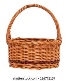 New empty wicker basket isolated on white background