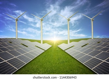 New energy, wind turbines and photovoltaic panels on vast grasslands