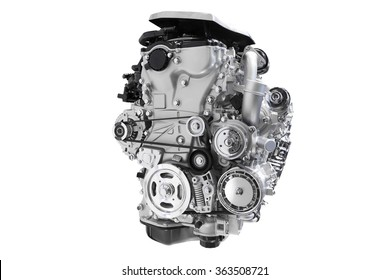New engine of car isolated on white background with clipping path