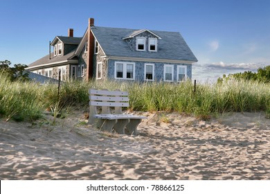 New England beach cottage, overlooking the dunes and the beach