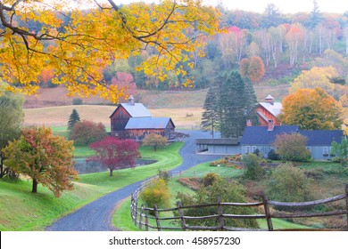 The New England Countryside in Autumn Morning