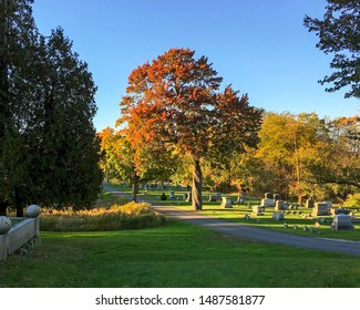 New England Fall Foliage. The South Street Cemetery in Portsmouth, New Hampshire is one of the oldest cemeteries in Portsmouth. It dates back to the 18th century and is rumored to be haunted.