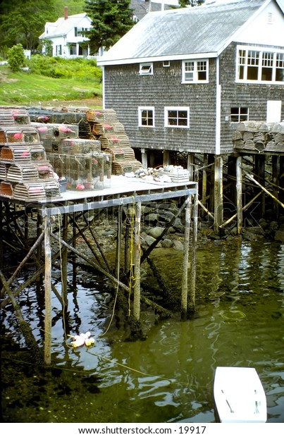 New England fishing harbor lobster traps