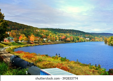 New England Landscape. Fall in Green Mountains and Connecticut River