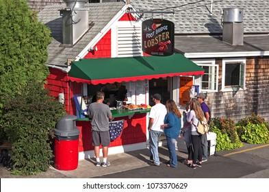 New England lobster shack seafood eatery, Perkins Cove Ogunquit, Maine USA - September 18, 2014