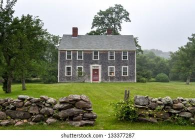New England mansion on a foggy afternoon at Martha's Vineyard, MA