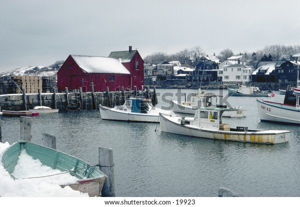 New England seaport in the winter