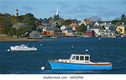 New England Seaside Village in Autumn