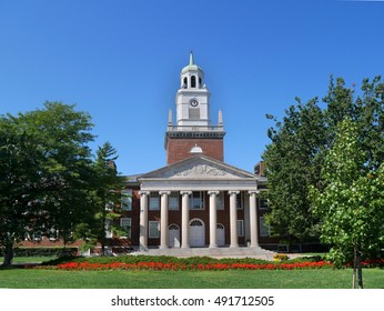 New England style college building with portico and columns