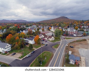 New England Village During Fall Foliage - Groveton, NH