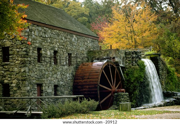 New England water mill outside of Boston in the fall